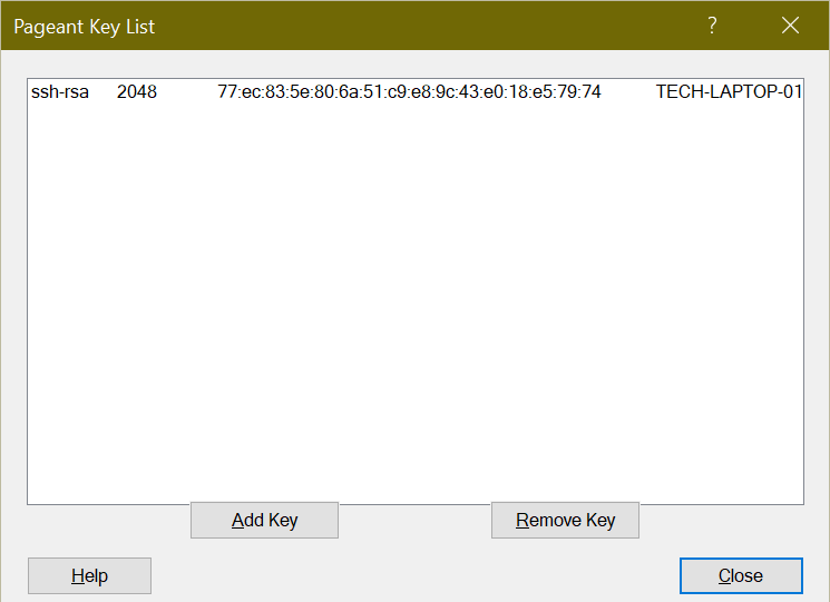 Pageant Key List with a demo key