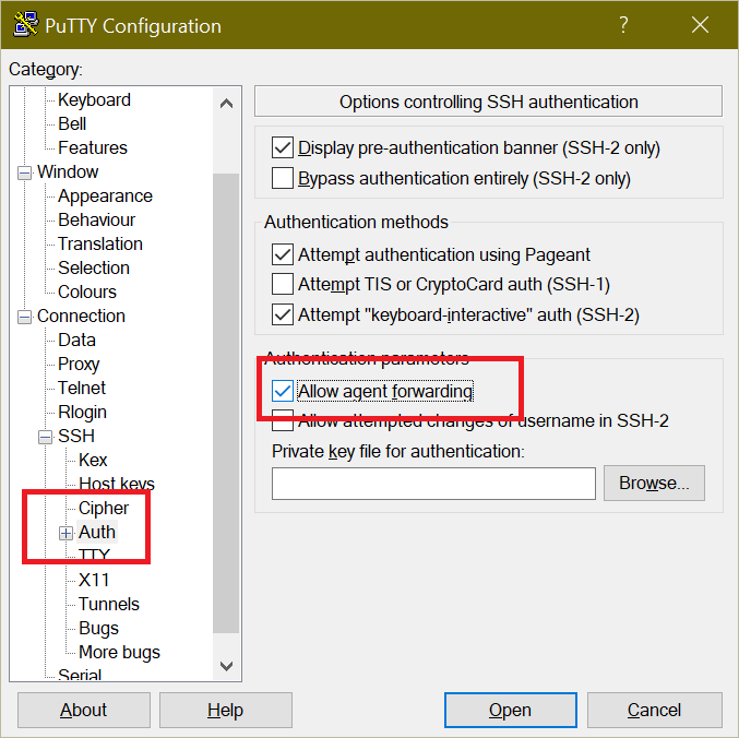 PuTTY settings showing Agent Forwarding option