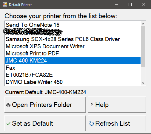 Screenshot - Change Default Printer