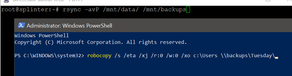 Examples of backup commands for Linux and Windows